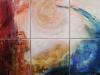 Nr. 171 Die vier Elemente - Feuer- Erde- Wasser Luft  60x90  Leinwand / Acryl / Pigmente