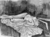 Nr.47  Weiblicher Akt, liegend  29x39  Papier / Kreide