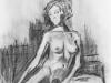 Nr. 46  Weiblicher Akt sitzend  23x29  Papier / Kohle