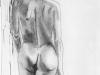 Nr. 50 Weiblicher Akt von hinten, stehend 20x28  Papier / Monochromstift / Kohle
