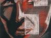 Nr. 63  Abstraktes Portrait mit Lichtreflexen  40x50  Schwarzer Karton / Rötel + Weissstift
